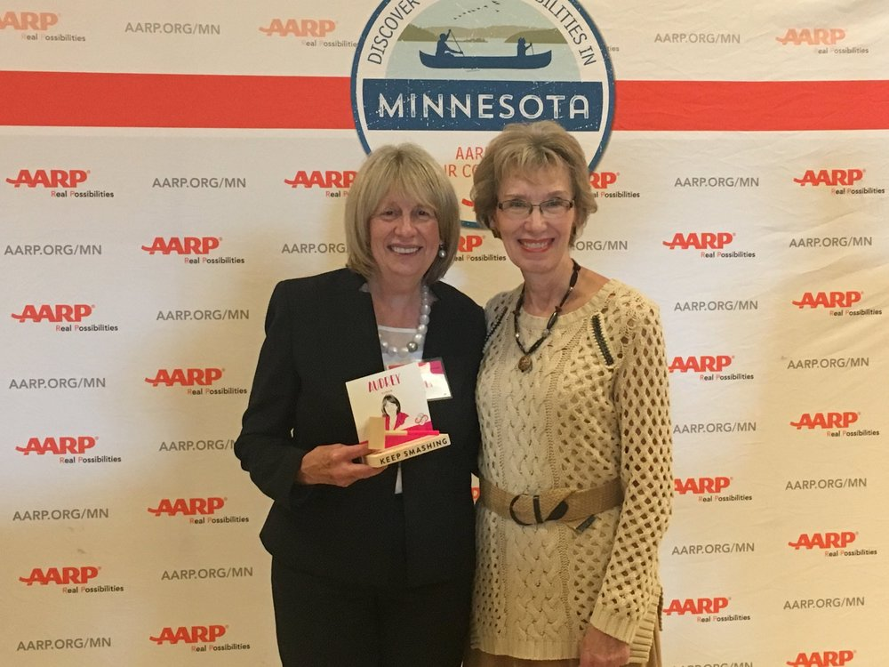 Celebrating with Audrey Suker at the ceremony was Alice Seagren, former Commissioner of the Minnesota Department of Education and a driving force behind the creation of Reading Corps  (photo) .